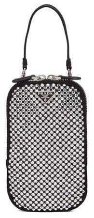 PRADA Silver Rhinestone Mini Handbag