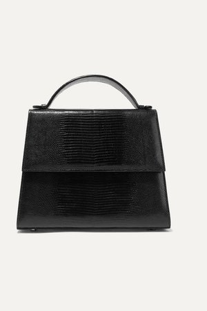 The Large Top Handle Lizard Tote - Black