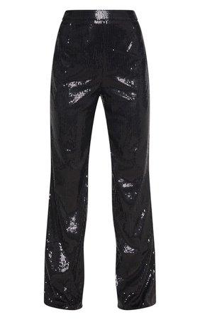 Black Sequin Wide Leg Trouser | Trousers | PrettyLittleThing