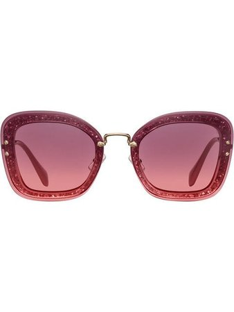 Miu Miu Eyewear Reveal Oversized Glitter Frame Sunglasses - Farfetch