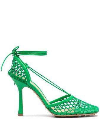 Shop green Bottega Veneta wrap-tie mesh pumps with Express Delivery - Farfetch
