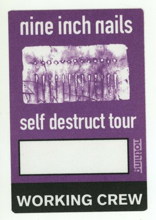 Nine Inch Nails 1994 Self Destruct Tour Purple WORKING CREW Backstage Pass! NIN   eBay