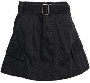 Belted Cotton-twill Mini Skirt