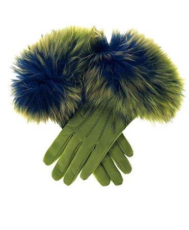 Fratelli Orsini Italian Fox Fur Cuff Cashmere Lined Leather Gloves