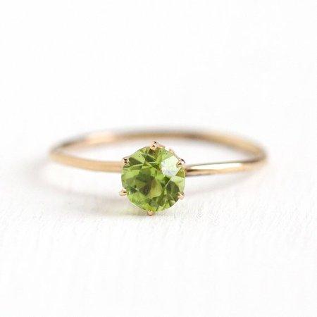 Vintage Peridot Ring 14k Yellow Gold Green Gemstone