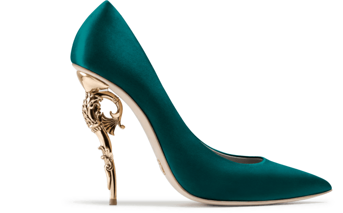Ralph & Russo BAROQUE PUMP EMERALD SATIN WITH YELLOW GOLD HEEL – Shoes Post