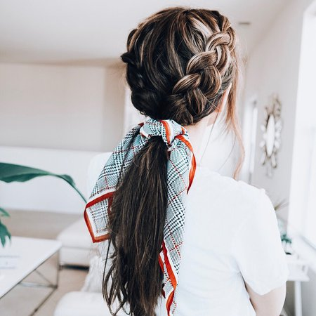 """Hair Toppers + Extensions on Instagram: """"Today's hairstyle 💁♀️ is double Dutch braids into a ponytail finished with a pretty scarf. Wearing #divinetopbytressmerize human hair topper…"""""""