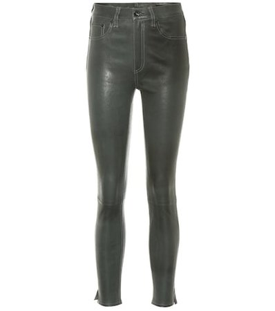 Leather high-rise leggings