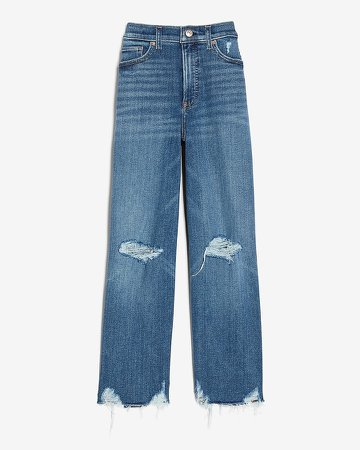 High Waisted Ripped Raw Hem Cropped Wide Leg Jeans