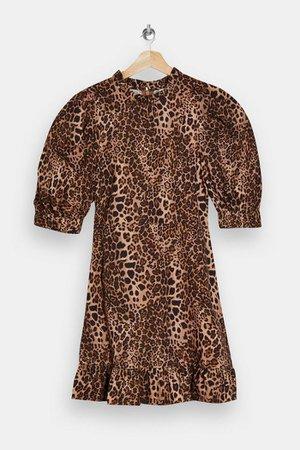 Leopard Print Puff Sleeve Mini Dress | Topshop