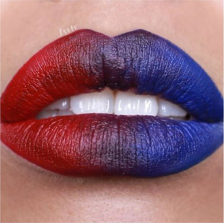 red and blue lips