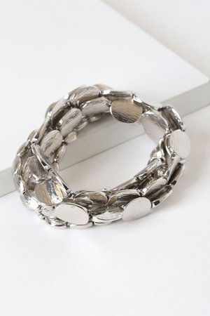 Cute Silver Bracelets - Silver Beaded Bracelets - Bracelet Set