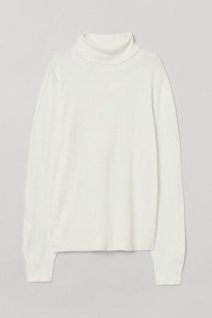 Fine-knit Turtleneck Sweater - White - Ladies   H&M US