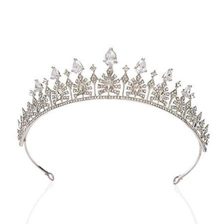 Amazon.com : SWEETV Cubic Zirconia Wedding Tiara for Bride - Princess Tiara Headband Bridal Crown, Bridal Hair Accessories for Women, Silver : Beauty