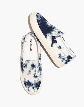 Sidewalk Slip-On Sneakers in Tie-Dyed Recycled Canvas white blue