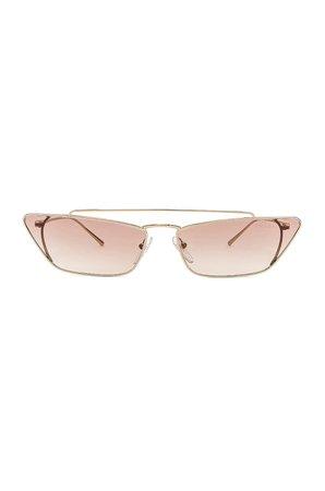 Prada Rectangular Cat Eye Sunglasses in Brown   FWRD