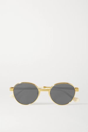 Gold Round-frame gold-tone mirrored sunglasses | Gucci | NET-A-PORTER