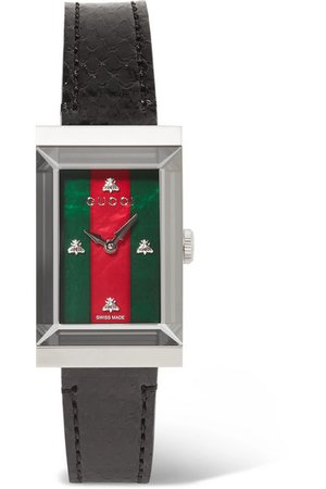 Gucci   G-Frame ayers, stainless steel and mother-of-pearl watch   NET-A-PORTER.COM