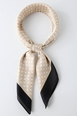 Cute Polka Dot Scarf - Beige Polka Dot Scarf - Black Trim Scarf - Lulus