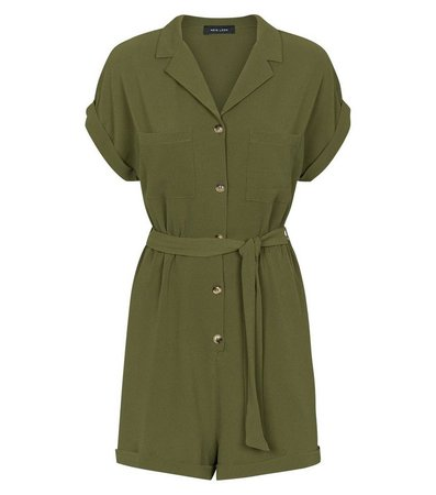 New Look Khaki Revere Collar Button Through Playsuit