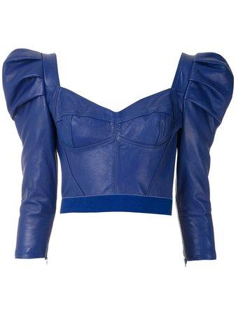 Andrea Bogosian Leather Puff Sleeves Blouse - Farfetch