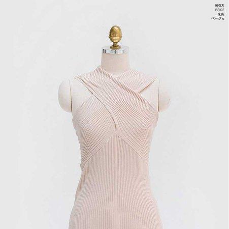 Buy chuu Off-Shoulder Cross Rib-Knit Top   YesStyle