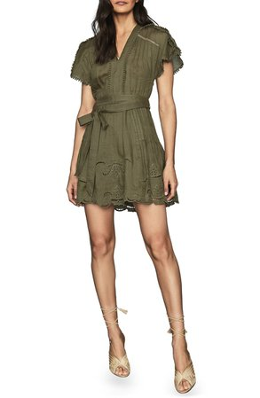 Reiss Gemina Embroidered Minidress | Nordstrom
