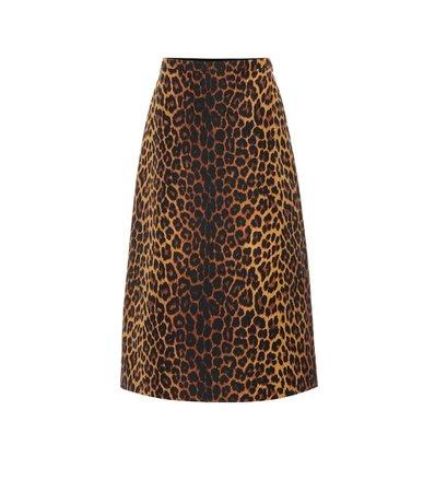 Leopard Wool-Blend Skirt | Gucci - mytheresa