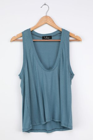 Cute Dusty Blue Tank - Ribbed Tank Top - Ribbed Knit Top - Top - Lulus