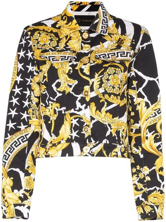 Versace Barocco Print Denim Jacket | Farfetch.com