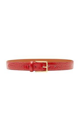 Croc-Effect Glazed Leather Belt by Anderson's | Moda Operandi