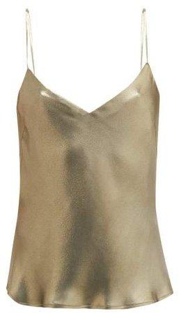 V-neck Metallic-effect Silk-satin Camisole - Womens - Khaki