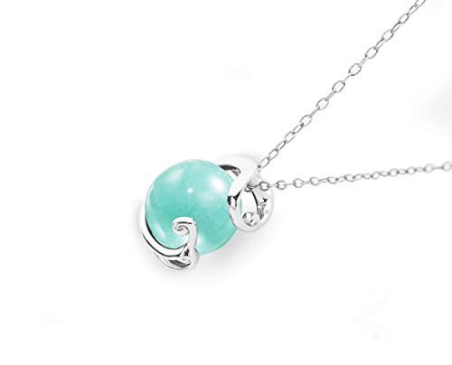 Amazon.com: Turquoise necklace by Majade. Amazonite necklace, teal green stone pendant, light blue gemstone jewelry. Handmade 925 sterling silver necklace. Simple minimalist solitaire tiffany blue stone necklace.: Handmade