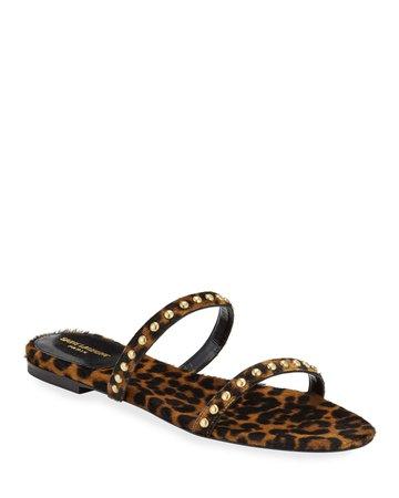 Saint Laurent Kiki Leopard Calf Hair Flat Sandals | Neiman Marcus