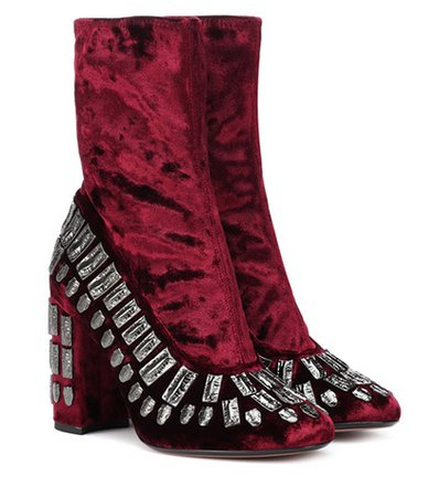 Exclusive to Mytheresa – Bea embellished velvet ankle boots