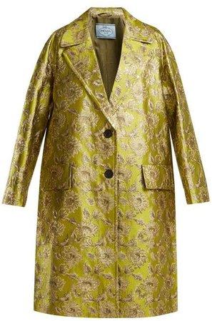 Notch Lapel Floral Brocade Coat - Womens - Green