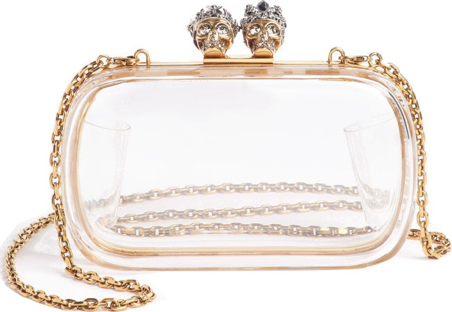 Alexander McQueen Queen & King Transparent Box Clutch in White - mkt