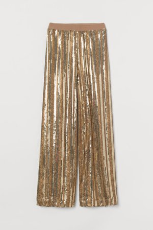 Wide-leg Sequined Pants - Gold