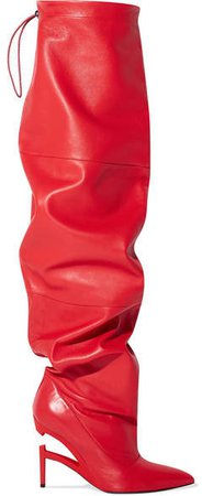Unravel Project - Elephant Leather Thigh Boots - Red