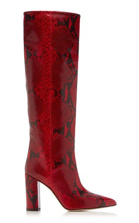 Snake-Effect Leather Knee Boots by Paris Texas | Moda Operandi