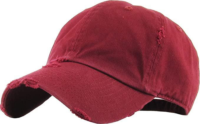 *clipped by @luci-her* KBE-Vintage BDM Vintage Washed Cotton Dad Hat Baseball Cap Polo Style Burgundy: Clothing
