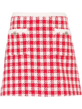 Miu Miu Gingham Check Tweed Skirt