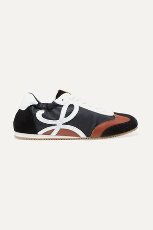 Leather, Suede And Shell Sneakers - Black