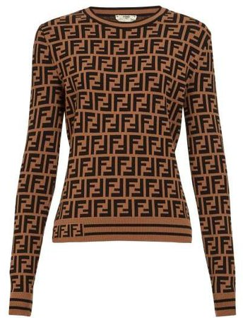 Ff Logo Jacquard Sweater - Womens - Brown Multi