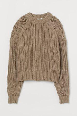 Knitted jumper - Beige - Ladies | H&M