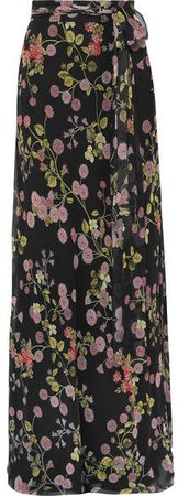Floral-print Silk-georgette Maxi Skirt - Black