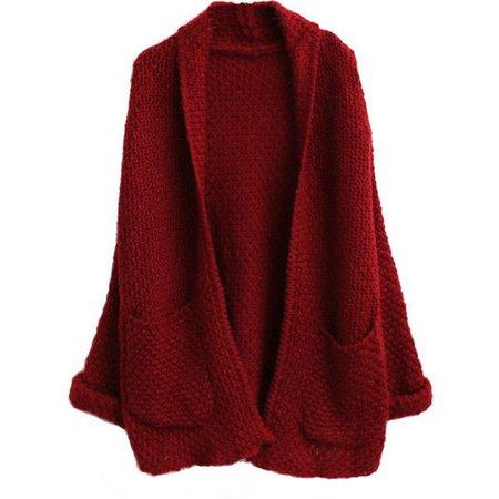 Dark Red Loose Cardigan
