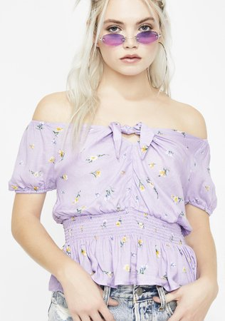 Lavender Floral Off Shoulder Top | Dolls Kill