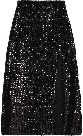 front slit sequinned skirt
