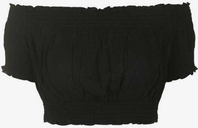 black ruffle off shoulder crop top